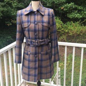 Women's Wool Plaid Trench Coat Jacket